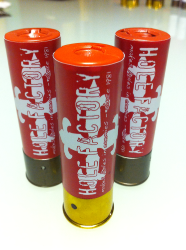 "Aufkleber ""Hole Factory - red"" für Shotgun-Shell 3x10 Rounds"
